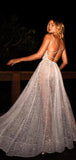Sparkly White Sequin V-neck Backless Fashion Prom Dresses,PD00327