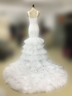 Square Neck Sleeveless Mermaid Lace Tiered Ruffles Organza Train Wedding Dresses , WD0022