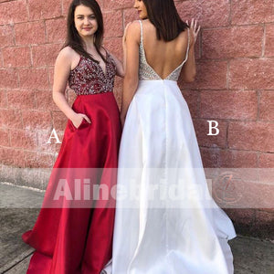 Stunning Beaded Top Backless V-neck Prom Dresses For Teens ,PD000101