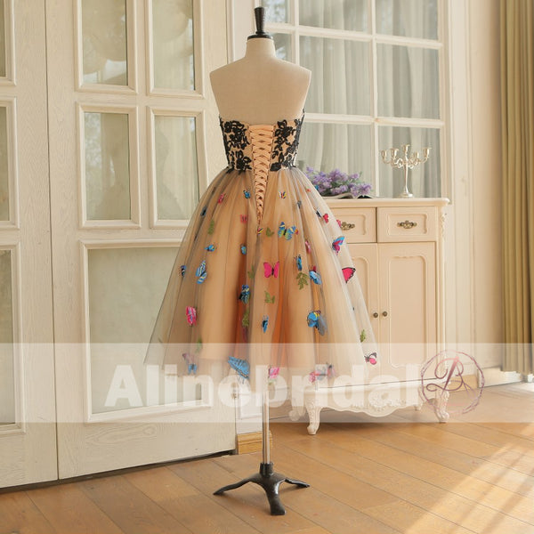 Stunning Butterfly Appliques Strapless A-line Fashion Homecoming Dresses,BD00235
