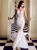 Stunning Lace Applique Illusion Long Sleeve Mermaid With Train Wedding Dresses, AB1552