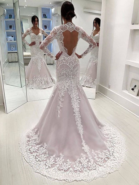 b4b484edccc7 FEATURED PRODUCTS. Your product's name. $200.00. Stunning Lace Sequins Long  Sleeve Mermaid Open Back Wedding Dresses ...