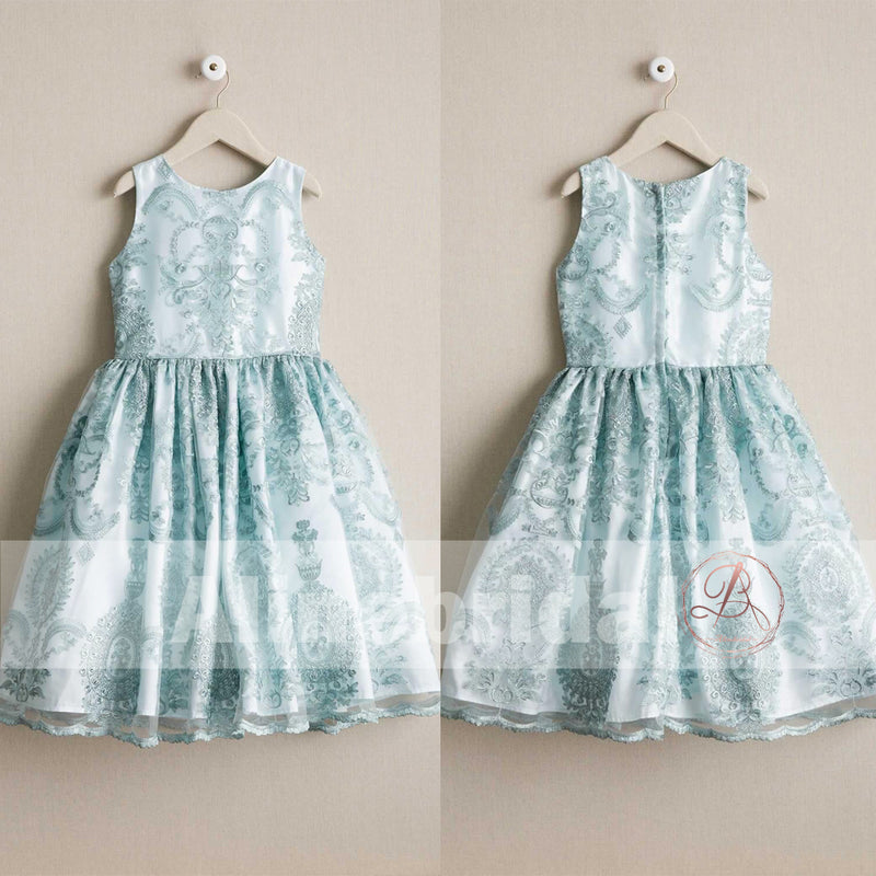 Stunning Light Blue Lace Cute Round Neck Flower Girl Dresses, FGS063
