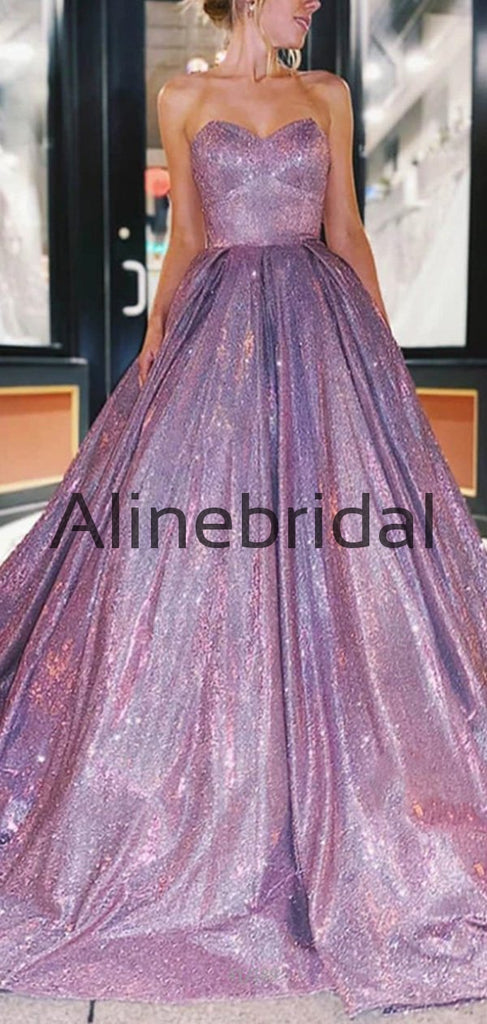 Sweatheart A-line Shinning Real Made Prom Dresses, Long Prom Gown PD1013