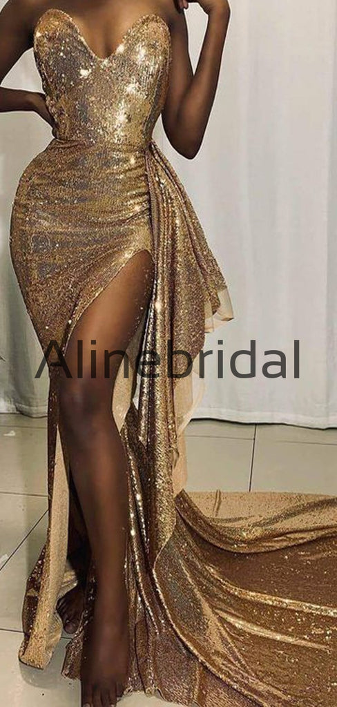 Sweatheart Gold Sparkly Mermaid Sexy Long Prom Dresses, Evening Dress PD1015