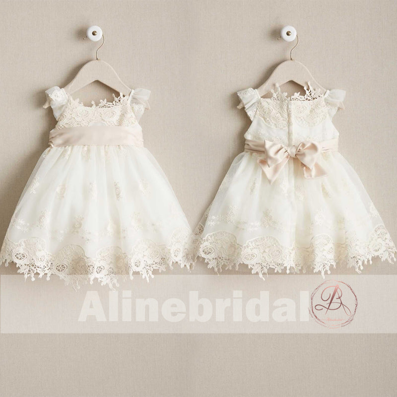 Sweet Ivory Lace Round Neck Cap Sleeve Flower Girl Dresses, FGS088