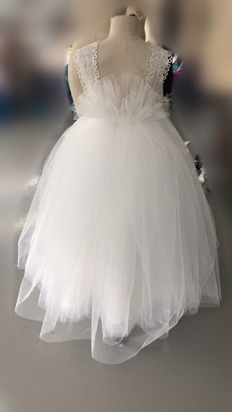 Sweet Ivory Tulle With Appliques Lace Strap Floor Length Flower Girl Dresses, FGS058