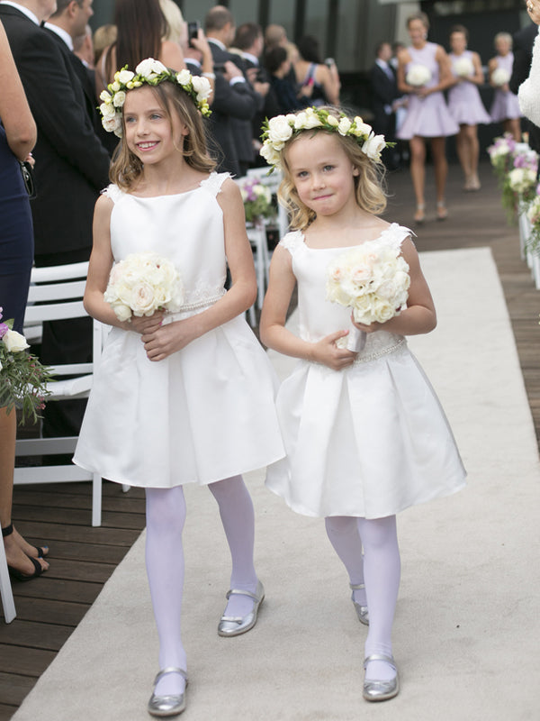 Sweet Off White Satin Short Flower Girl Dresses , FGS115