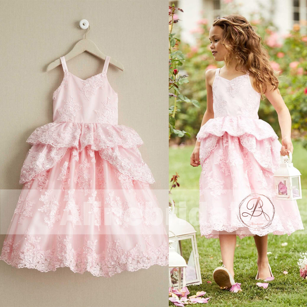 Sweet Pink Lace Unique Ball Gown Spaghetti Straps Flower Girl Dresses, FGS062
