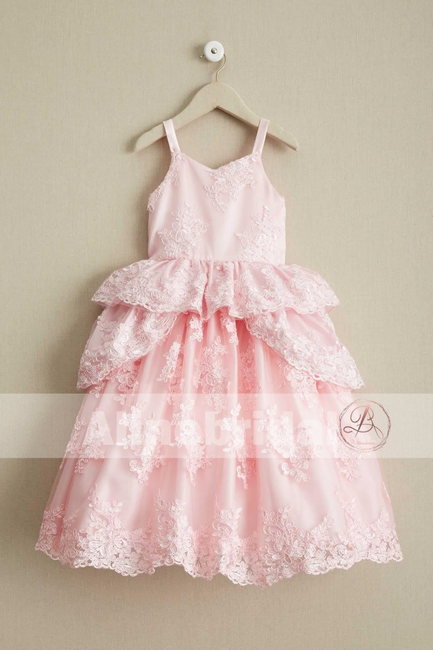 Sweet Pink Lace Unique Ball Gown Spaghetti Straps Flower Girl ...
