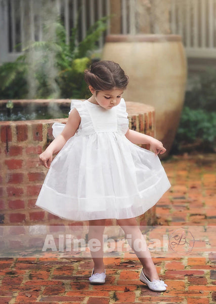Sweet White Organza With Bow Flower Girl Dresses, FGS092