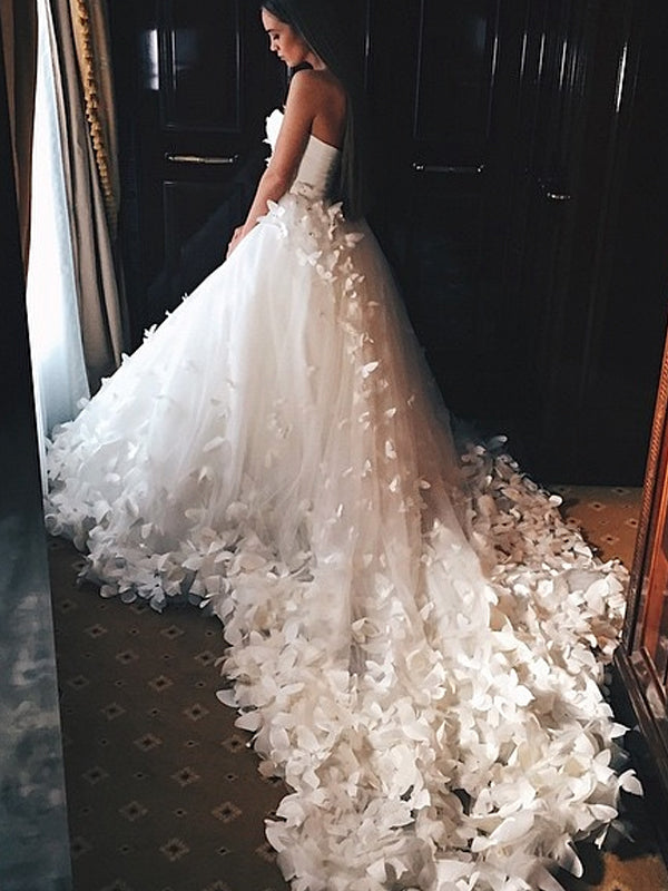Sweetheart Strapless Ball Gown Butterfly Applique With Train Wedding D Alinebridal