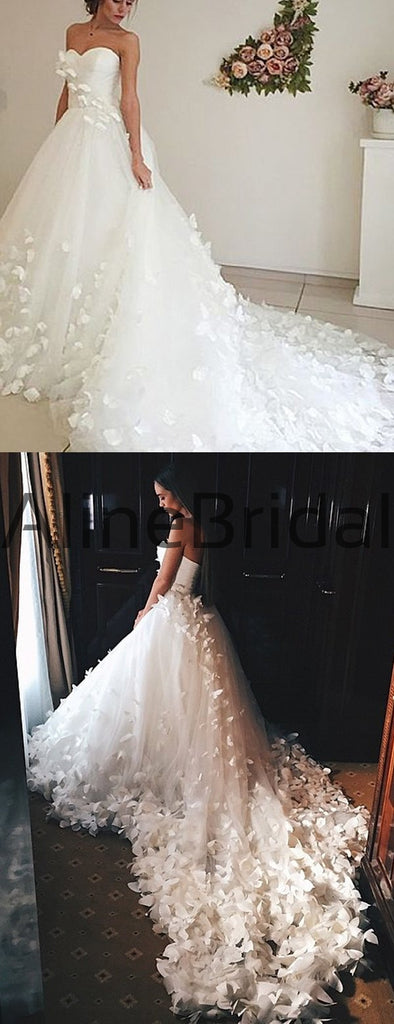 Sweetheart Strapless Ball Gown Butterfly Applique With Train Wedding Dresses, AB1545