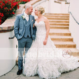 Sweetheart Strapless Gorgeous Appliques Bubble Luxury Ball Gown Wedding Dresses, AB1160