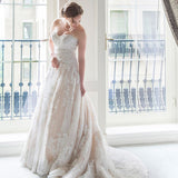 Sweetheart Strapless Gorgeous Ivory Lace Sequin Long Wedding Dresses,WD0078