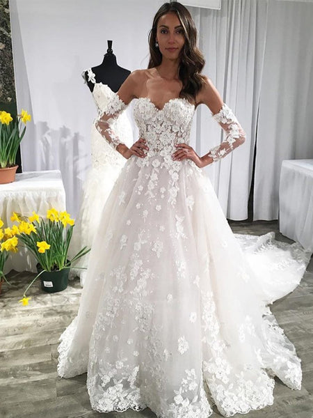Sweetheart Strapless Half Sleeve Lace Applique Ball Gown With Train Vintage Wedding Dresses, AB1554