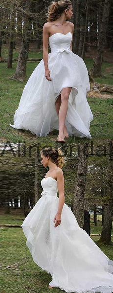 Sweetheart Strapless High Low Lace Chiffon Wedding Dresses, AB1543