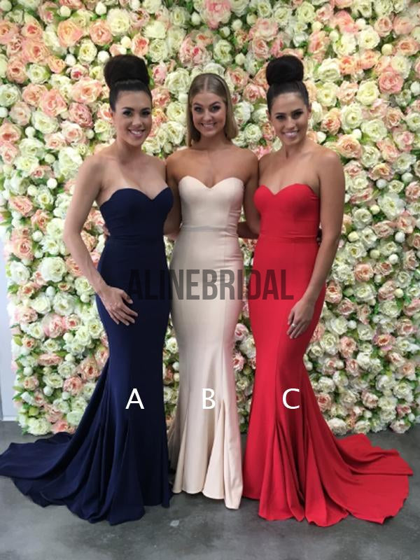 Sweetheart Strapless Mermaid Mismatched Bridesmaid Dresses, AB4018