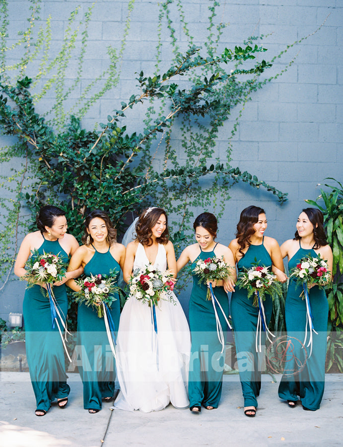 Teal Chiffon Halter Maxi Simple Bridesmaid Dresses For Summer Wedding, AB1216