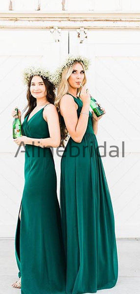Teal Chiffon Mismatched A-line Long Bridesmaid Dresses, AB4044