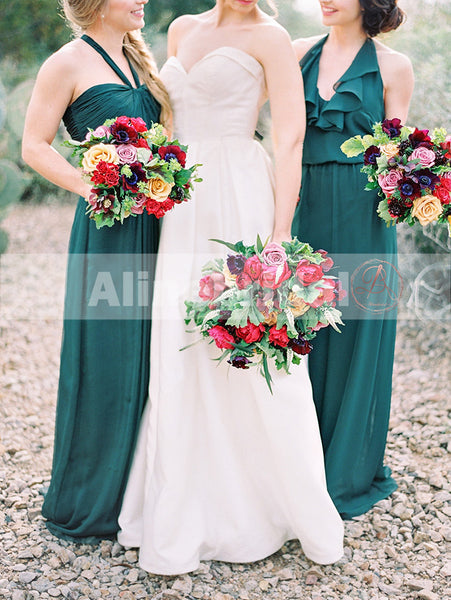 Teal Chiffon Mismatched Halter Sleeveless Simple Bridesmaid Dresses, AB1213