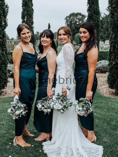 Teal Elastic Satin Spaghetti Strap Ankle Length Sheath Bridesmaid Dresses, AB4138