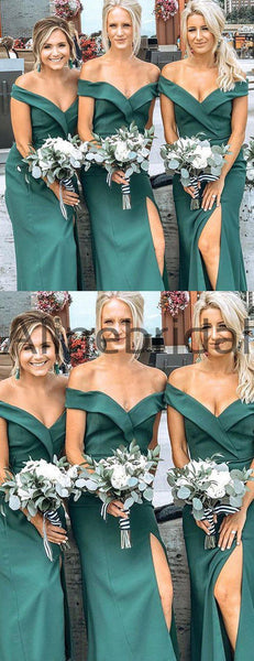 Teal Fashion Off Shoulder Simple Sheath Slit Bridesmaid Dresses, AB4059