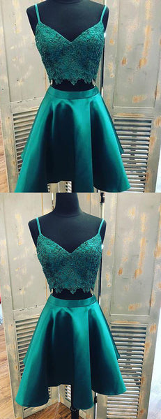 Teal Green Spaghetti Strap Two Piece Lace Satin Homecoming Dresses ,HD0043