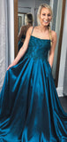 Teal Satin Lace Spaghetti Strap Open Back A-line Prom Dresses,PD00360