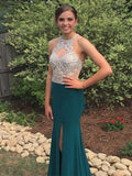 Teal Sparkly Beading Rhinestone Unique Neck Sexy See-through Mermaid  Prom Dresses,PD00033
