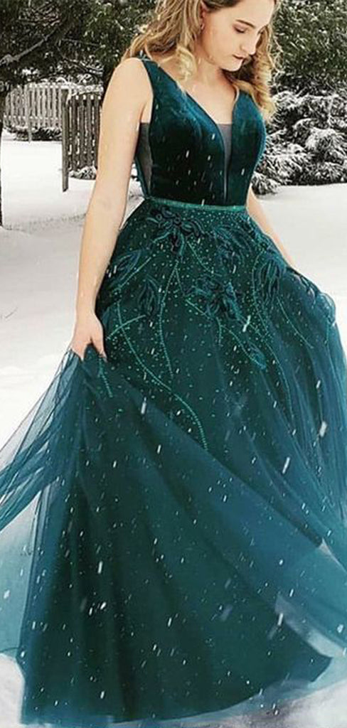 Teal Velvet Beading Tulle Sleeveless Charming Prom Dresses.PD00285