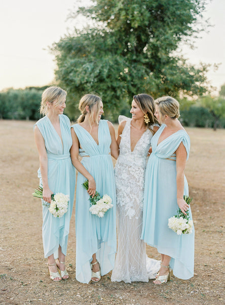 Tiffany Blue Chiffon Deep V-neck High Low Boho Bridesmaid Dresses, WG05