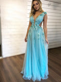 Tiffany Blue Handmade Flower Applique Tulle Charming Prom Dresses ,PD00382