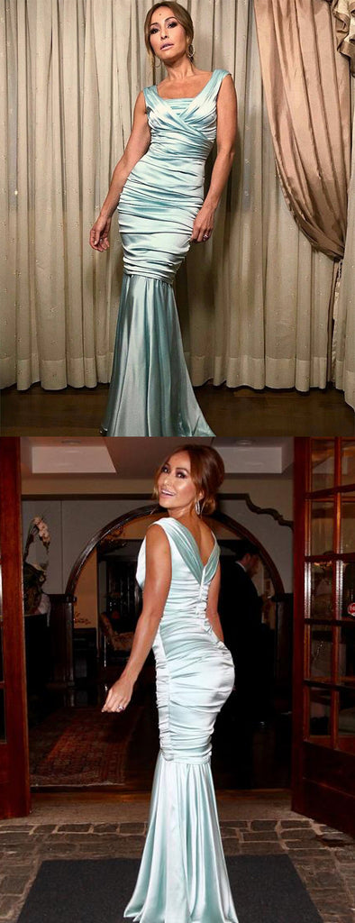 Tiffany Blue Pleating Mermaid Elegant Prom Dresses.PD00233