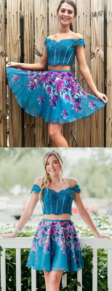 Turquoise Off Shoulder Beading Lace Floral Homecoming Dresses,HD0035