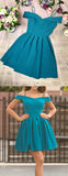 Turquoise Satin Off Shoulder Spaghetti Strap Homecoming Dresses ,HD0067