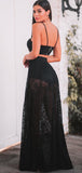 Two Piece Black Lace Spaghetti Starp Illusion A-line Prom Dresses,PD00326