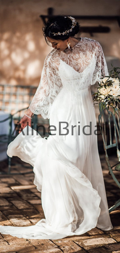 Two Piece Convertible Lace Chiffon Beach Wedding Dresses, AB1572