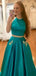 Two Piece Green Satin Open Back Beading Pocket Prom Dresses,PD00358
