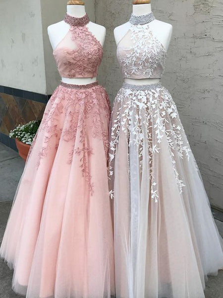 dc06367a0e Two Piece Halter Applique Tulle Pink Beaded Open Back Prom Dresses For –  AlineBridal