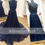 Two Piece Halter Beaded Top Backless Navy Blue Chiffon Prom Dresses ,PD000102