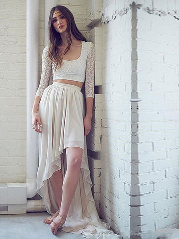 products/Two_Piece_Ivory_Lace_Chiffon_High_Low_Boho_Beach_Wedding_Dresses_AB1534-1.jpg