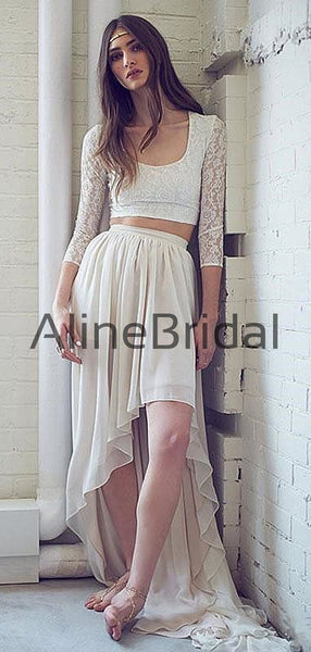 Two Piece Ivory Lace Chiffon High Low Boho Beach Wedding Dresses , AB1534