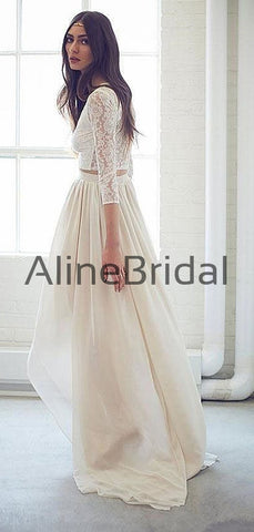 products/Two_Piece_Ivory_Lace_Chiffon_High_Low_Boho_Beach_Wedding_Dresses_AB1534-3.jpg