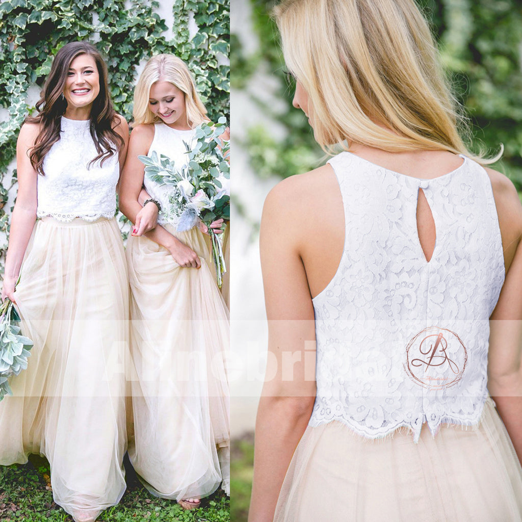 817e0026cc97 Two Piece Ivory Lace Top Tulle Bottom Country Wedding Bridesmaid Dress –  AlineBridal