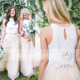 Two Piece Ivory Lace Top Tulle Bottom Country Wedding Bridesmaid Dresses, AB1212