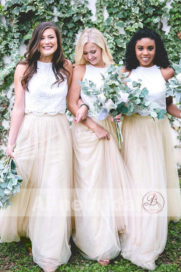 Two Piece Ivory Lace Top Tulle Bottom Country Wedding Bridesmaid ...