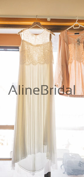 Two Piece Lace Chiffon Sleeveless Beach Wedding Dresses, AB1559