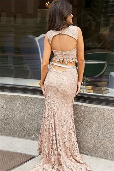 Two Piece Nude Lace Sleeveless Mermaid Long Prom Dresses,PD00221