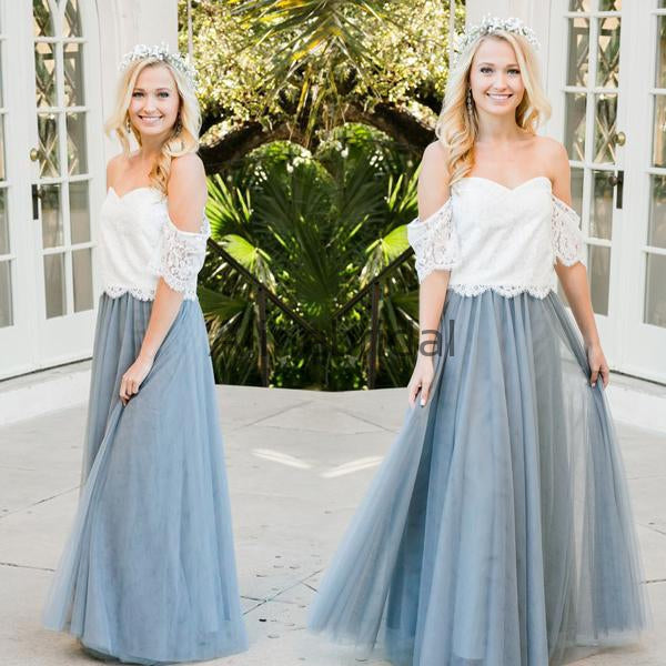Two Piece Off Shoulder Lace Tulle Charming A-line Bridesmaid Dresses, AB4009